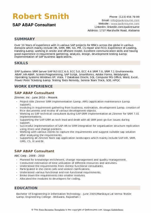 abap consultant resume samples qwikresume over years experience pdf ideas for Resume Over 10 Years Experience Resume