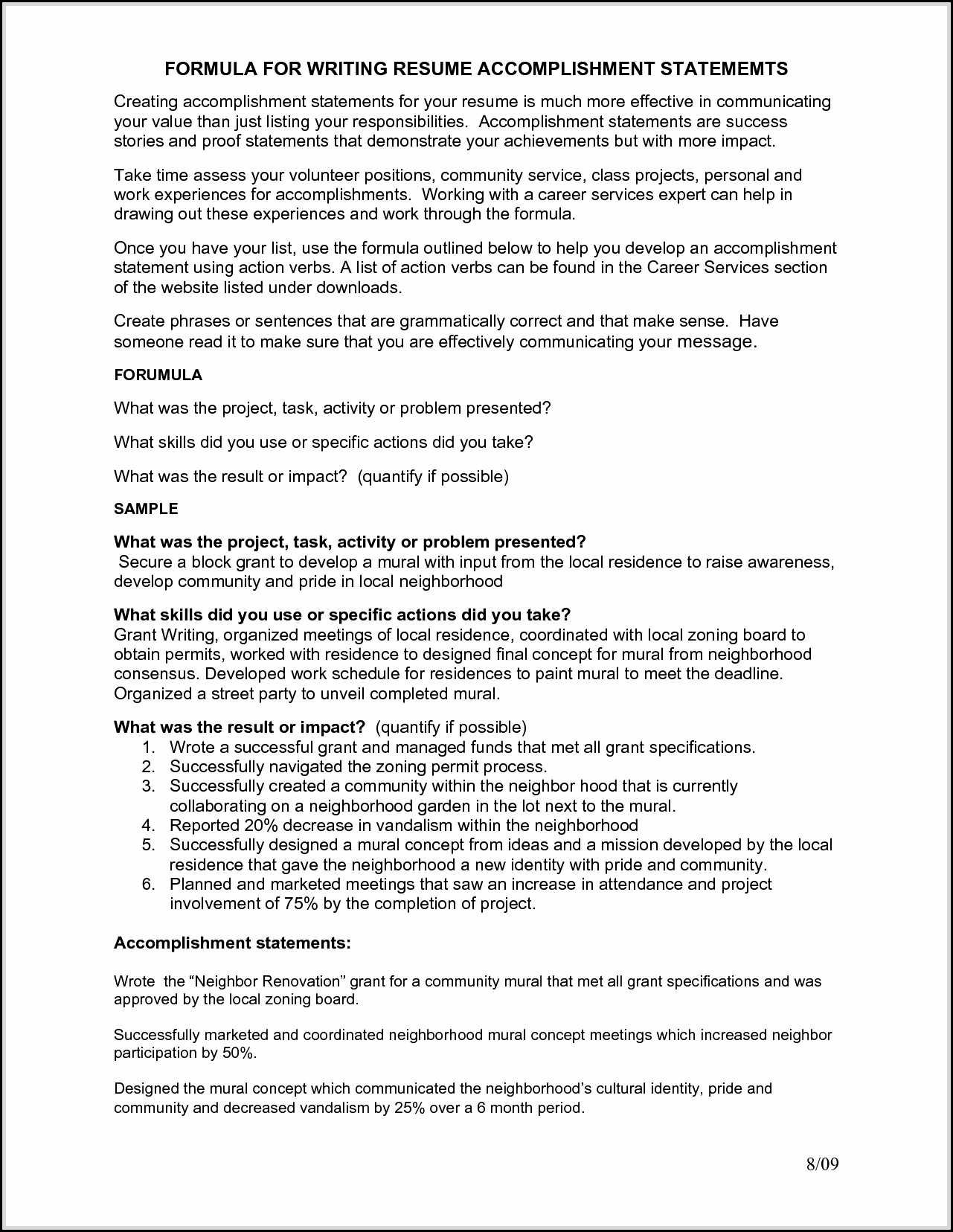 accomplishments resume are indeed important part of any resumes you make from the Resume Accomplishment Resume Format