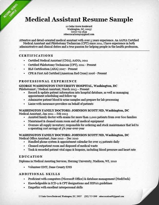 accounting assistant resume sample luxury medical objective statement examples in cover Resume Sample Resume Of A Medical Assistant