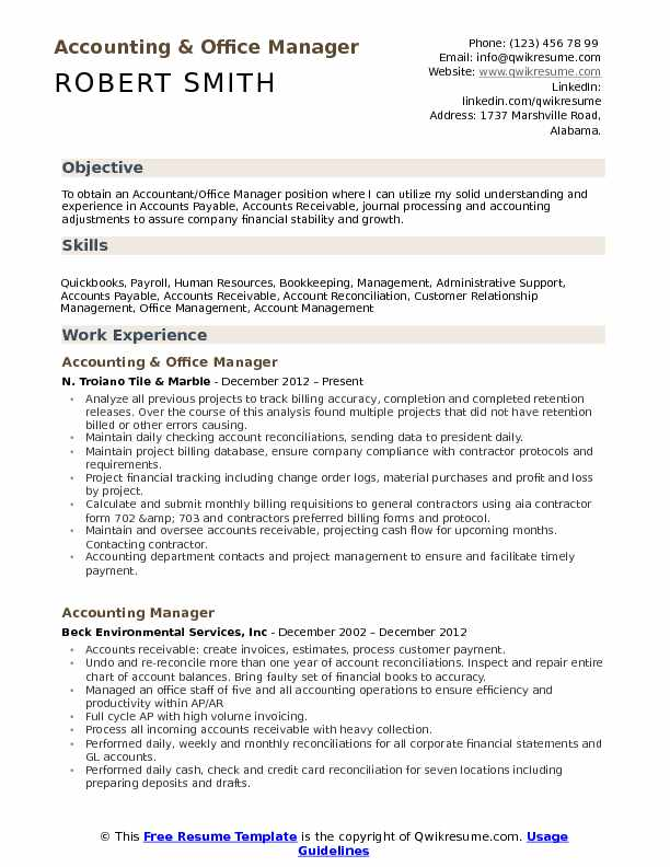 accounting office manager resume samples qwikresume good objectives for positions pdf Resume Good Resume Objectives For Office Positions