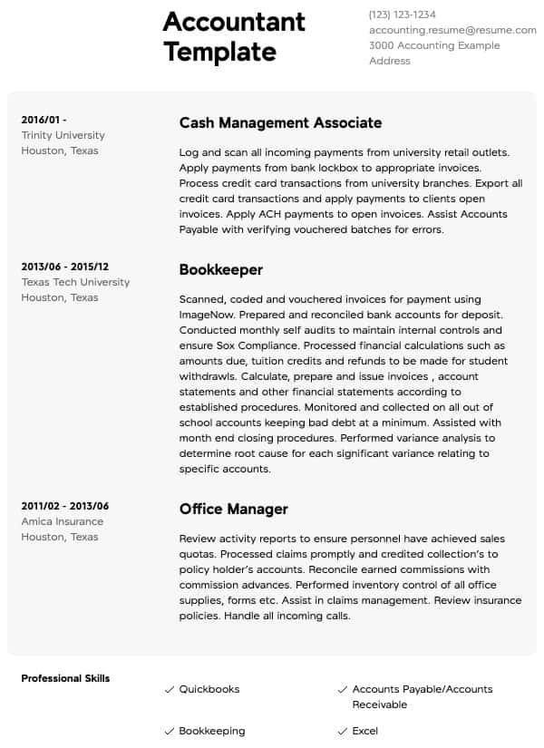 accounting resume samples all experience levels account reconciliation chartered Resume Account Reconciliation Resume