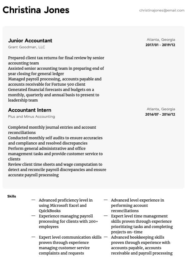 accounting resume samples all experience levels account reconciliation general example Resume Account Reconciliation Resume
