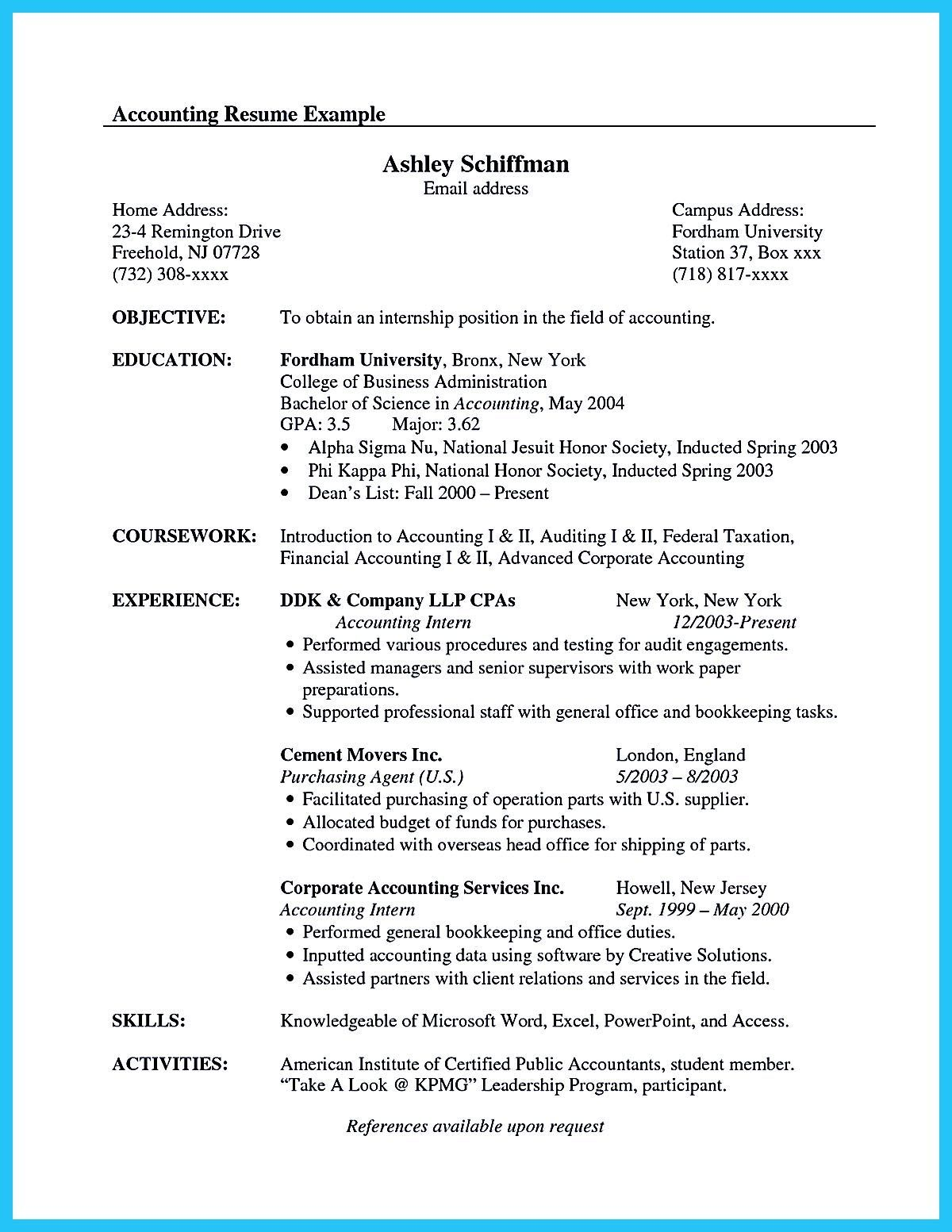 accounting student resume here presents the of clearly made accountant examples Resume Internship Resume Sample For Accounting Students