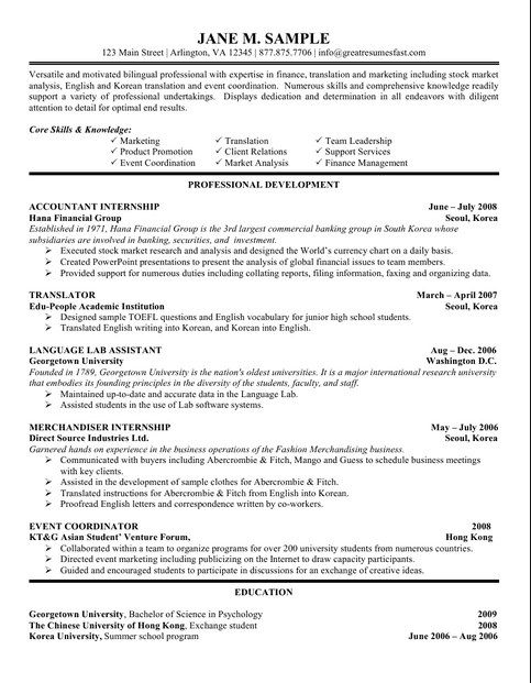 accounting student resume template internship job samples ojt objectives for students Resume Ojt Resume Objectives For Accounting Students