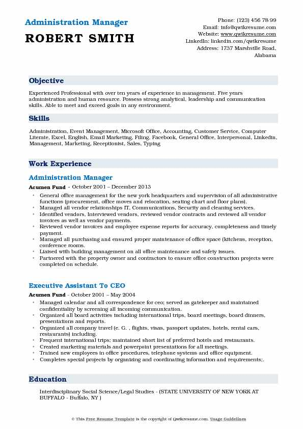 administration manager resume samples qwikresume administrative pdf writing your address Resume Administrative Manager Resume