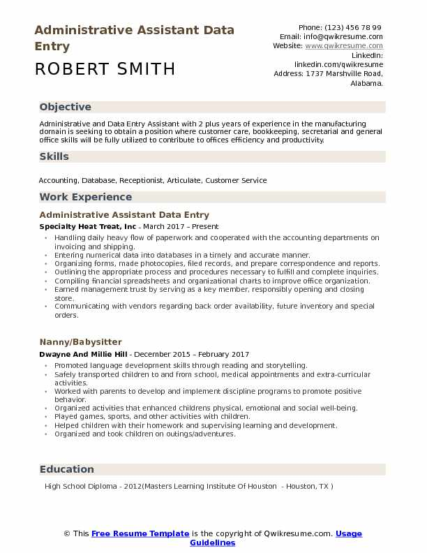 administrative assistant data entry resume samples qwikresume title pdf templets Resume Administrative Assistant Resume Title