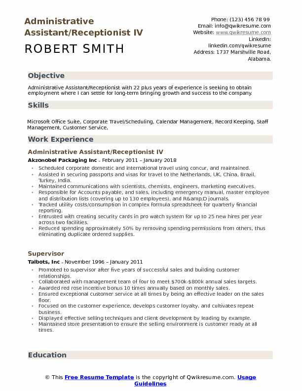 administrative assistant receptionist resume samples qwikresume admin objective for pdf Resume Admin Assistant Objective For Resume