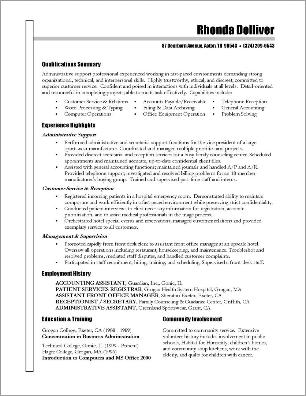 administrative assistant resume distinctive career services office administrator free Resume Office Administrator Resume Free Sample