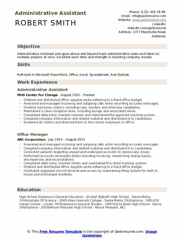 administrative assistant resume samples qwikresume admin objective for pdf manicurist Resume Admin Assistant Objective For Resume