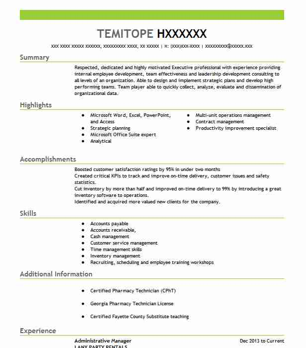 administrative manager resume example resumes livecareer format for administration Resume Resume Format For Administration Manager