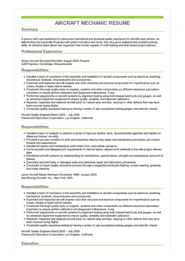 aircraft mechanic resume example airframe and powerplant examples sample image objective Resume Airframe And Powerplant Resume Examples