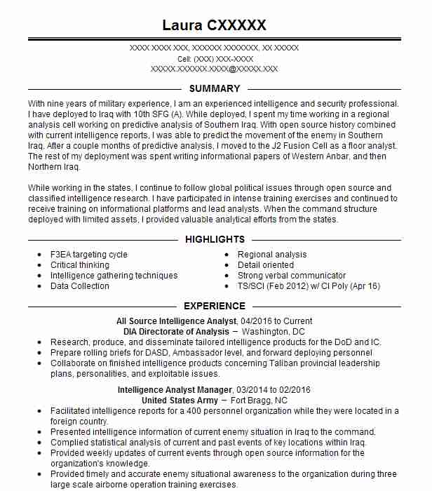 all source intelligence analyst resume example livecareer cyber new grad nurse Resume Cyber Intelligence Analyst Resume