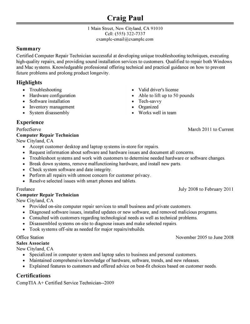 amazing computers technology resume examples livecareer computer literate repair Resume Computer Literate Resume