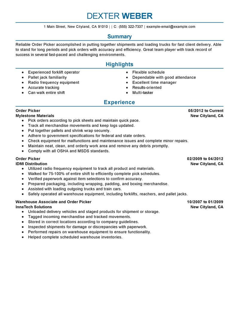 amazing government military resume examples livecareer experience on example order picker Resume Military Experience On Resume Example