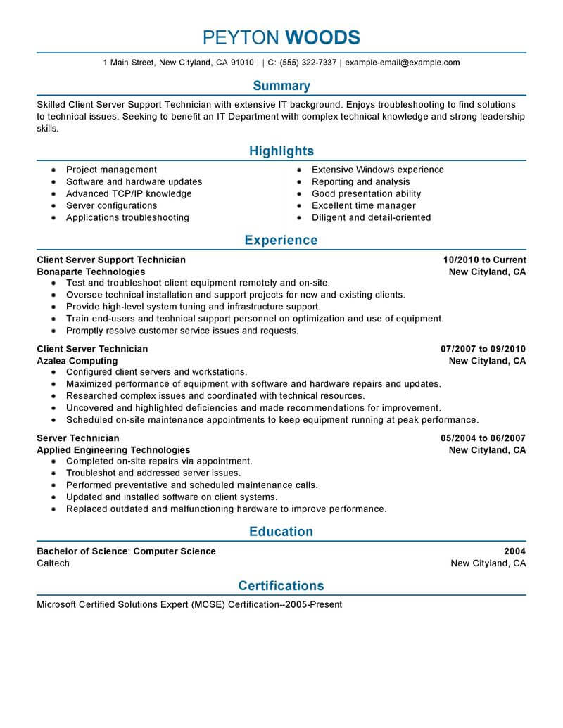 amazing it resume examples livecareer with skills sample client server technician Resume Resume With Skills Sample