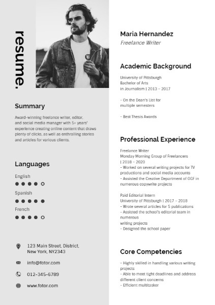 and grey freelance writer resume template fotor design maker content thumb best for call Resume Freelance Content Writer Resume