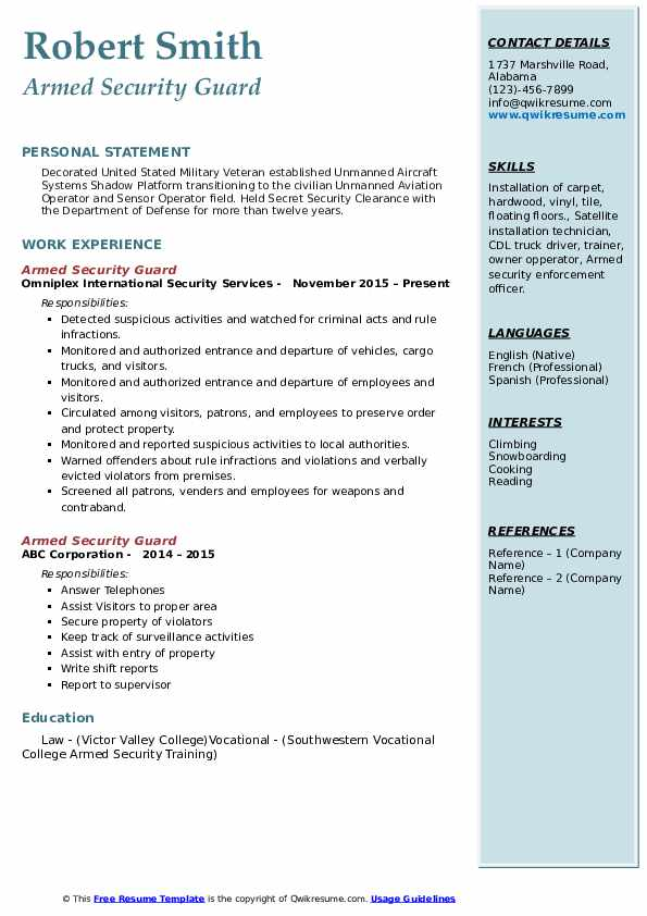 armed security guard resume samples qwikresume officer job description for pdf trained Resume Armed Security Officer Job Description For Resume