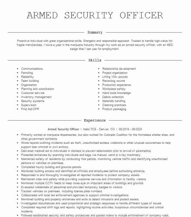 armed security officer resume example resumes livecareer job description for creater Resume Armed Security Officer Job Description For Resume