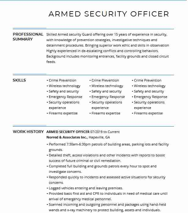 armed security officer resume example resumes livecareer job description for donor Resume Armed Security Officer Job Description For Resume