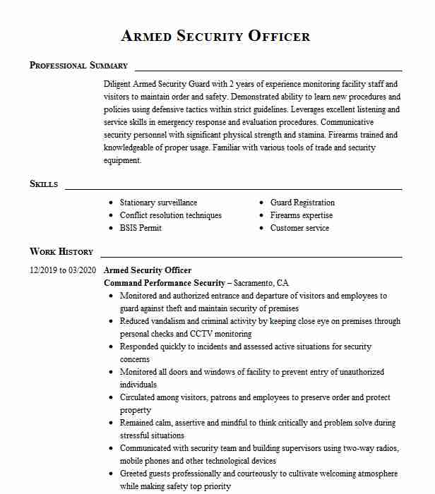 armed security officer resume example resumes livecareer job description for sample Resume Armed Security Officer Job Description For Resume
