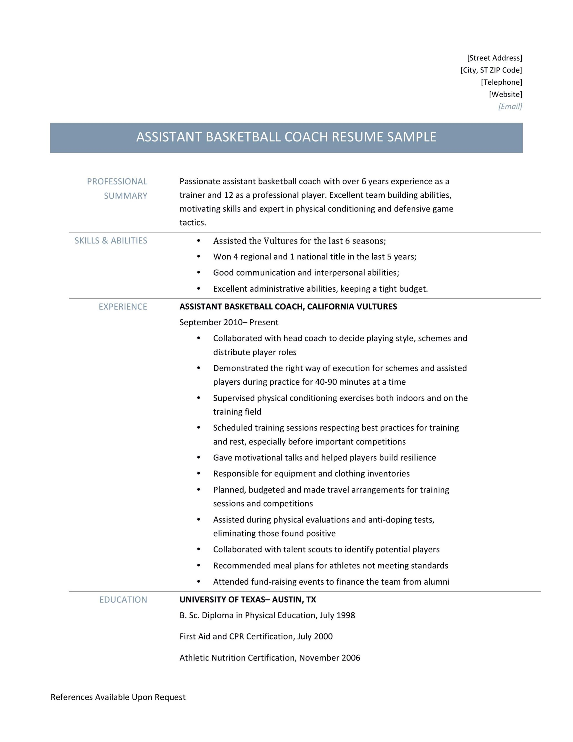 assistant basketball coach resume samples and job description by builders medium coaching Resume Coaching Resume Template