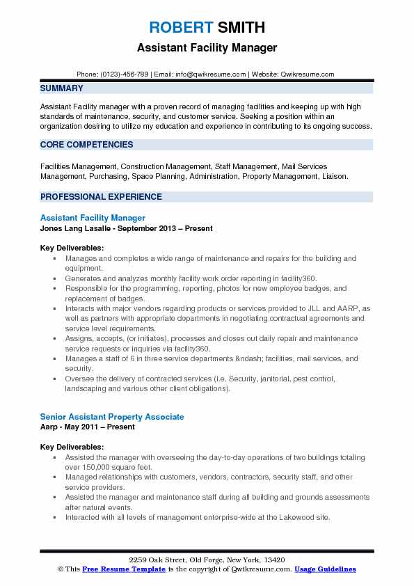 assistant facility manager resume samples qwikresume building operations pdf pmp example Resume Building Operations Manager Resume