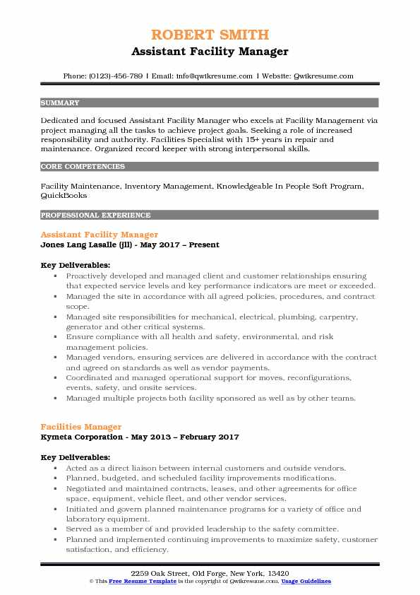 assistant facility manager resume samples qwikresume operations sample pdf Resume Facility Operations Manager Resume Sample