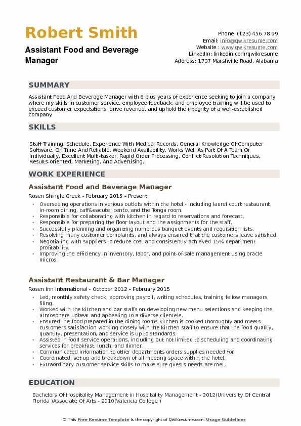 assistant food and beverage manager resume samples qwikresume pdf general contractor Resume Food & Beverage Manager Resume