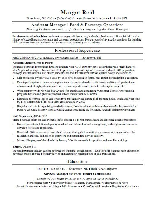 assistant manager resume monster food beverage quotes nursing goals and objectives for Resume Food & Beverage Manager Resume