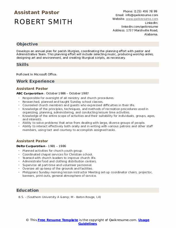 assistant pastor resume samples qwikresume church ministry templates pdf collections Resume Church Ministry Resume Templates