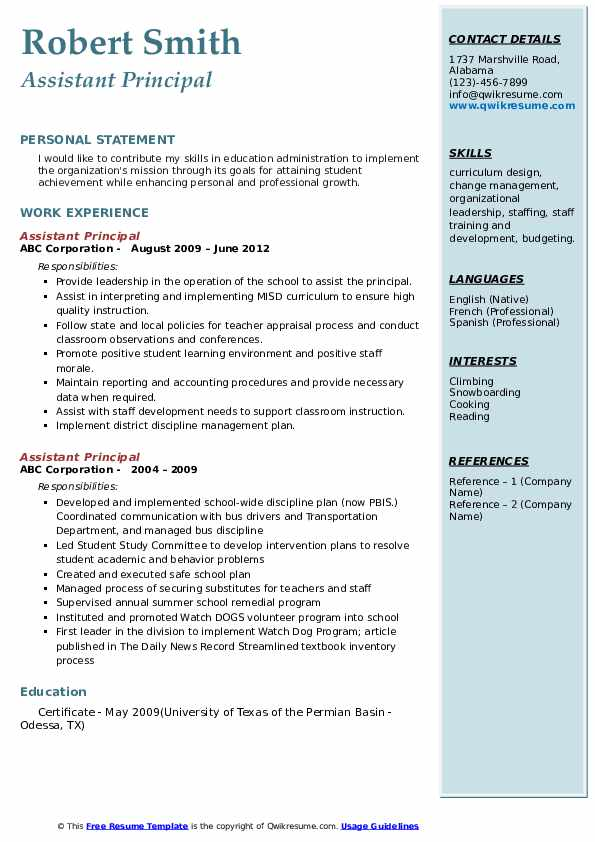 assistant principal resume samples qwikresume pdf example of format for ojt research Resume Assistant Principal Resume