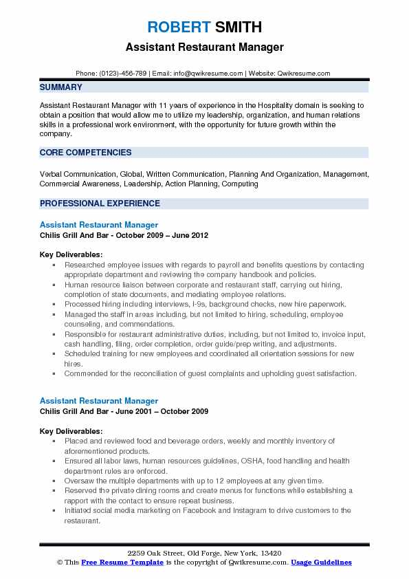 assistant restaurant manager resume samples qwikresume objective pdf ats template Resume Restaurant Manager Resume Objective