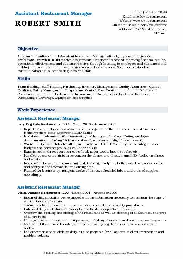 assistant restaurant manager resume samples qwikresume objective pdf oracle for years Resume Restaurant Manager Resume Objective