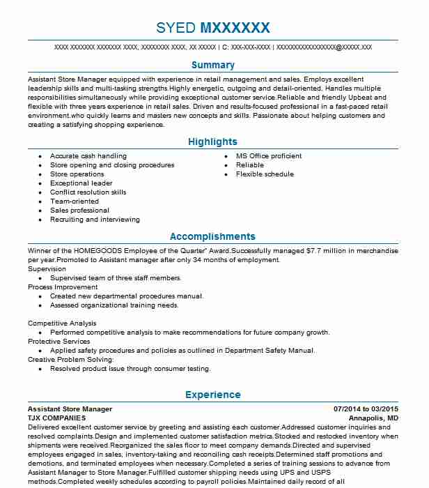 assistant store manager resume example resumes livecareer sample objectives for retail Resume Sample Resume Objectives For Retail Management