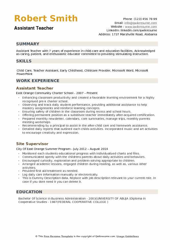 assistant teacher resume samples qwikresume objective for pdf security supervisor summary Resume Objective For Resume For Teacher Assistant
