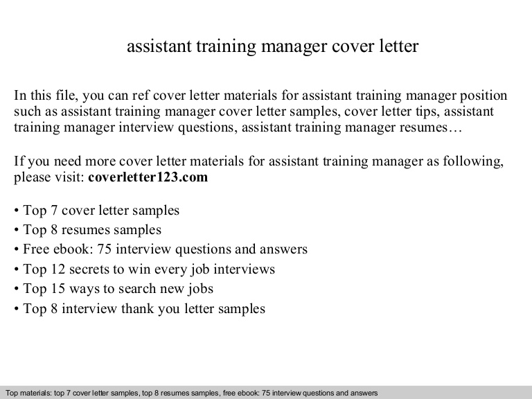 assistant training manager cover letter resume assistanttrainingmanagercoverletter Resume Training Assistant Resume Cover Letter