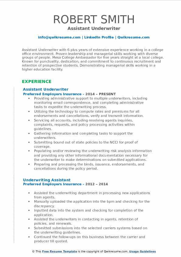 assistant underwriter resume samples qwikresume auto pdf mac writing software good words Resume Auto Underwriter Resume