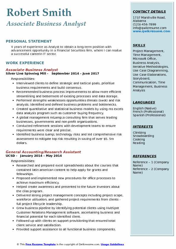 associate business analyst resume samples qwikresume sample for experienced years pdf new Resume Sample Resume For Experienced Business Analyst 2 Years