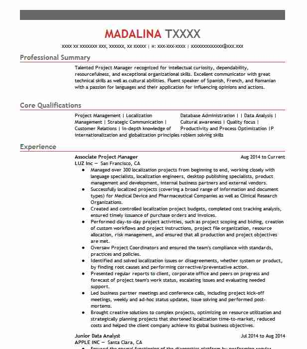 associate project manager resume example cbre google kirkland sample for college student Resume Associate Project Manager Resume Sample