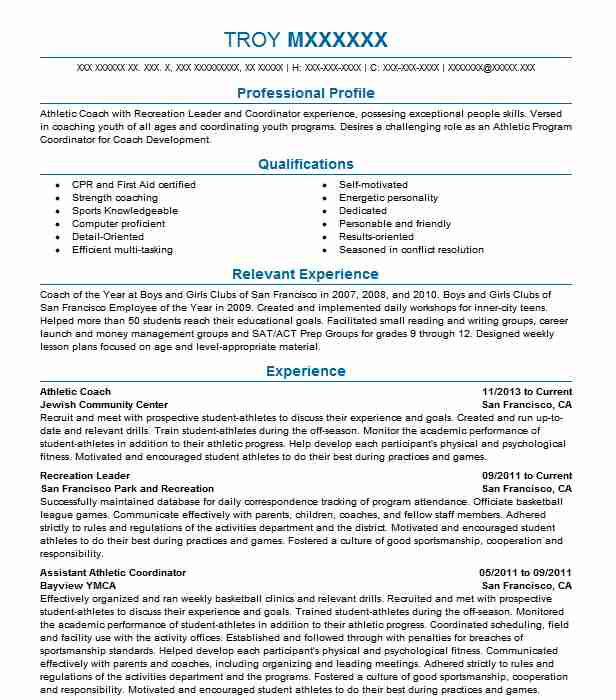 athletic coach resume example resumes misc livecareer free coaching templates sample for Resume Free Coaching Resume Templates