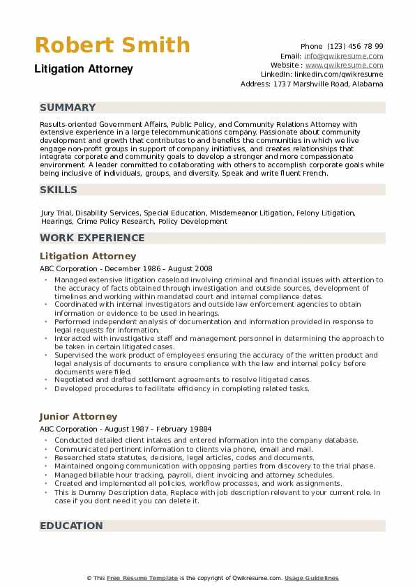 attorney resume samples qwikresume litigation sample pdf chart education examples house Resume Litigation Attorney Resume Sample
