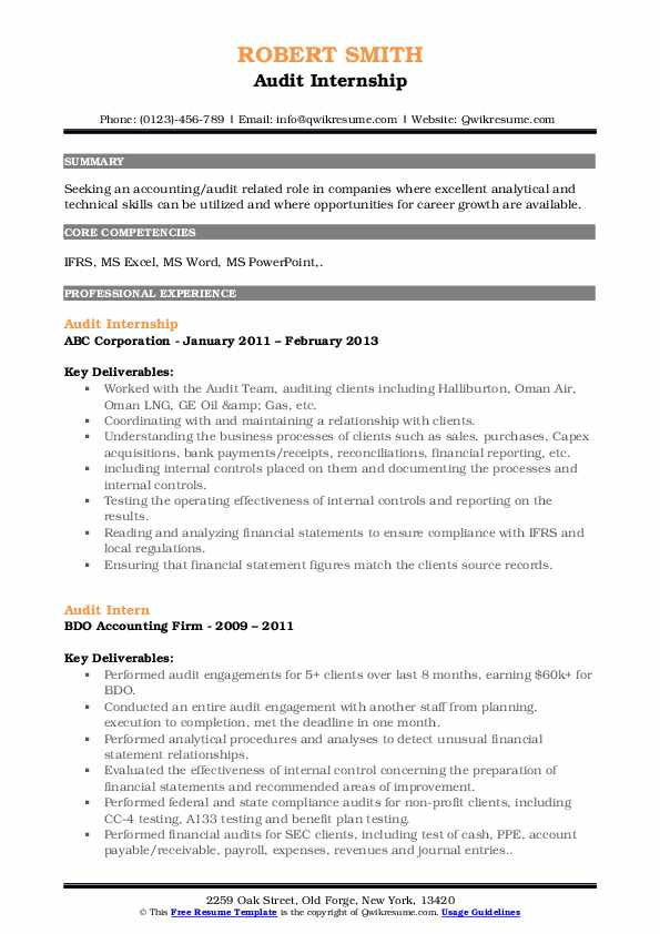 audit intern resume samples qwikresume description pdf campaign mailchimp great maker Resume Audit Intern Resume Description