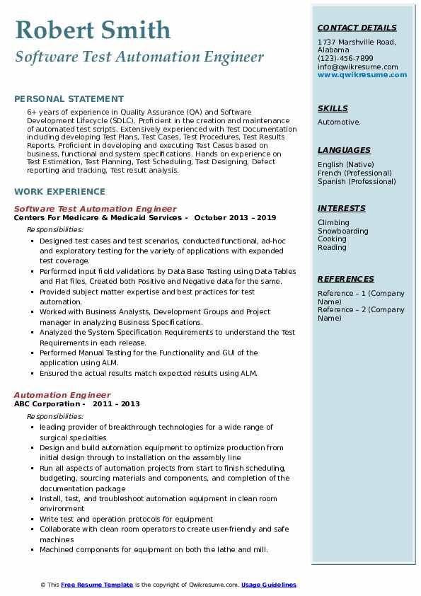 automation engineer resume samples qwikresume template pdf follow up sample email after Resume Automation Engineer Resume Template