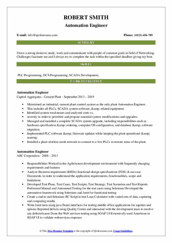 automation engineer resume samples qwikresume template pdf realtor for clients rn Resume Automation Engineer Resume Template