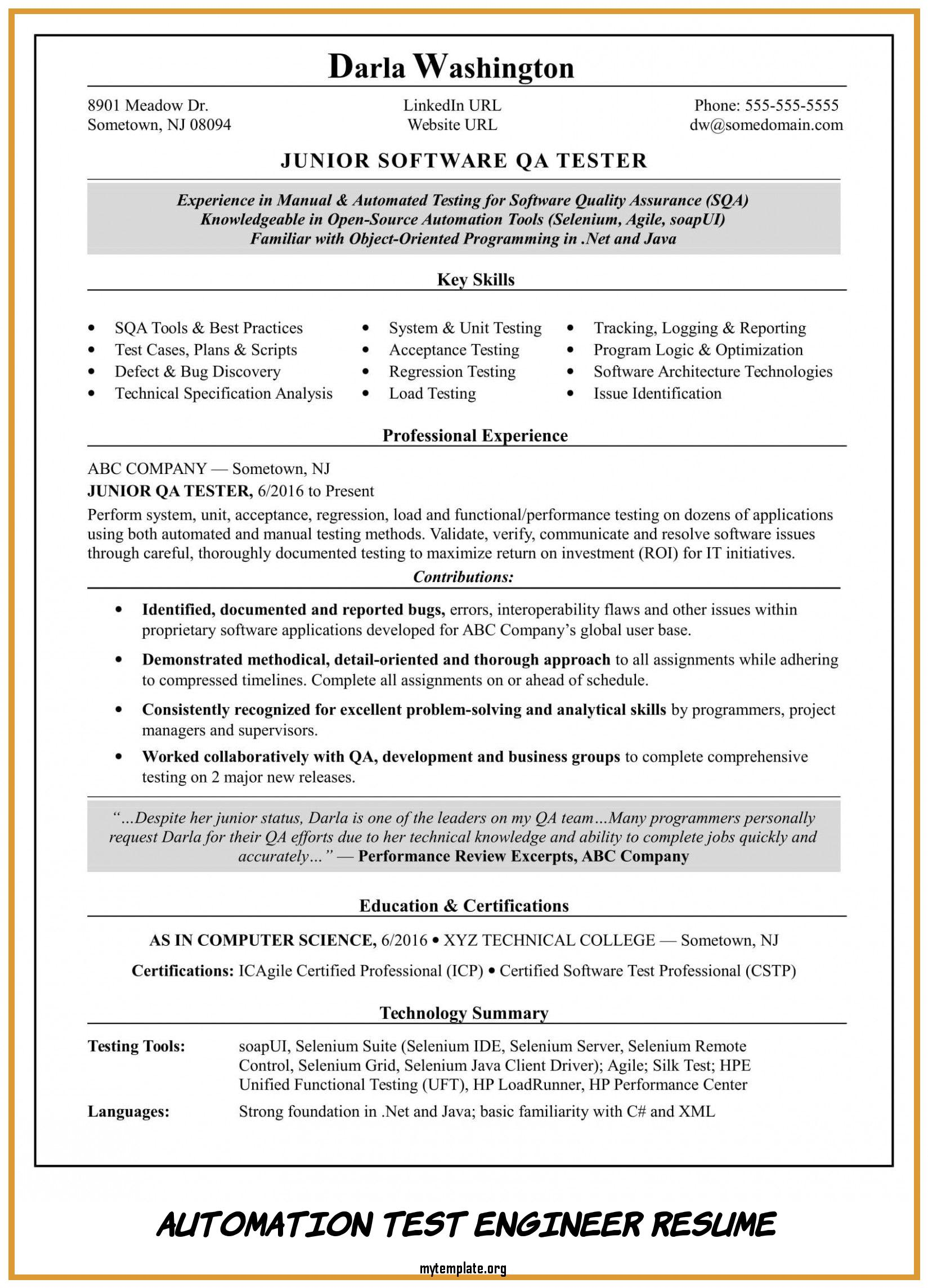 automation test engineer resume free templates sample of take look at pin samples fast Resume Automation Test Engineer Resume Sample