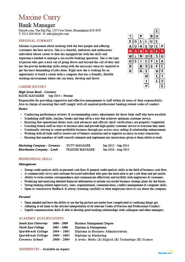 bank manager cv template jobs example customer accounts resume retired pic crossword Resume Retired Bank Manager Resume