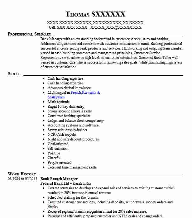 bank manager resume example resumes livecareer retired current samples for college Resume Retired Bank Manager Resume