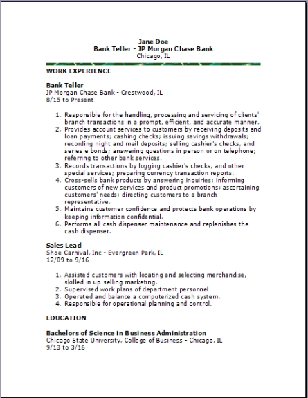 bank resume examples samples free edit with word for position resume2 sample cooks Resume Resume For Teller Position