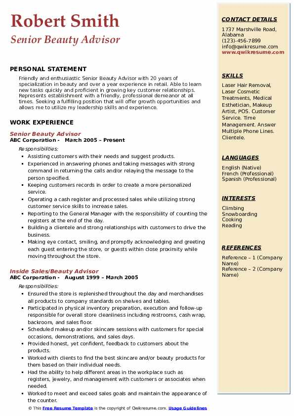 beauty advisor resume samples qwikresume clinique consultant pdf update services one year Resume Clinique Consultant Resume