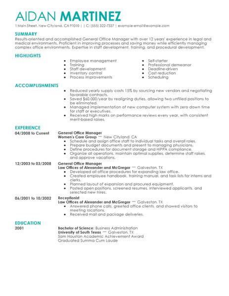 best administrative general manager resume example livecareer academic accomplishments Resume Academic Accomplishments Resume